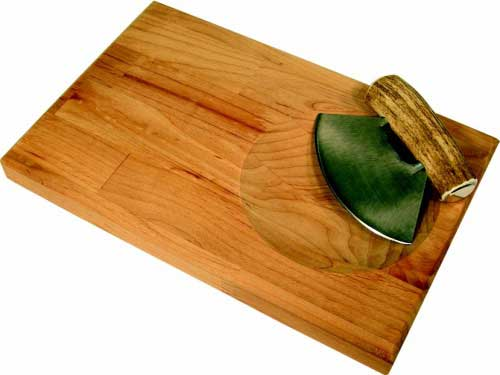 Cutting Board with Antler Chopping Knife