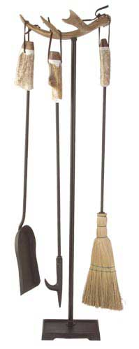 Antler Fireplace Tool Set with Metal Base