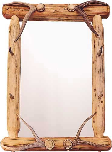 Lodgepole Antler Tipped Mirror