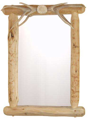 Lodgepole Mirror with Antler Top
