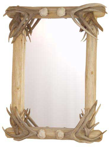 Lodgepole Mirror with Antler Coverings