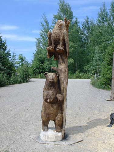 Eagle and Bear Chainsaw Carving