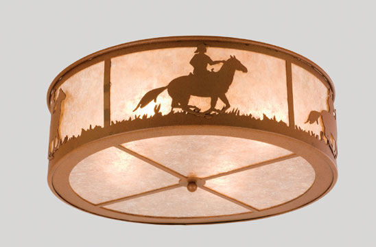 Cowboy and Steer Flush Mount Fixture