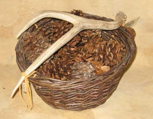 Woven Basket with Antler Handle