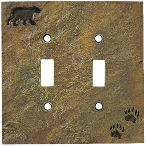 """Bear and Tracks"" Double Switch Plate Cover"
