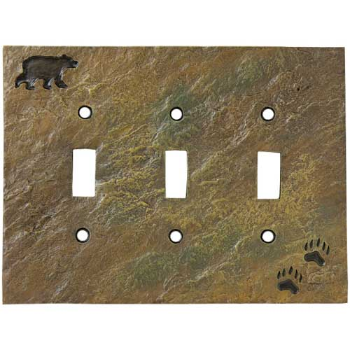 """""""Bear and Tracks"""" Triple Switch Plate Cover"""