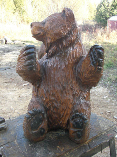 Bear Cub Chainsaw Carving