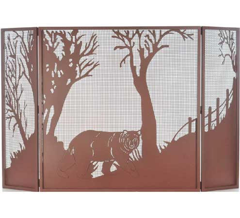 Black Bear Folding Fire Screen