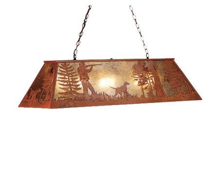 Quail Hunter with Dog Oblong Pendant Light Fixture