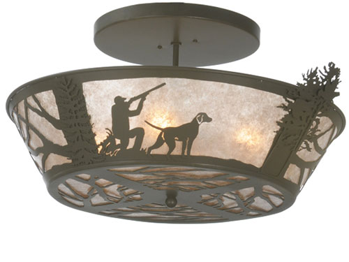 Quail Hunter with Dog Flush Mount Light Fixture