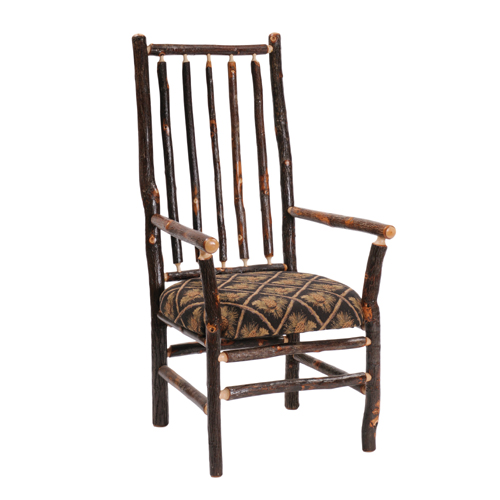 Hickory High Back Spoke Arm Chair with Upholstered Seat