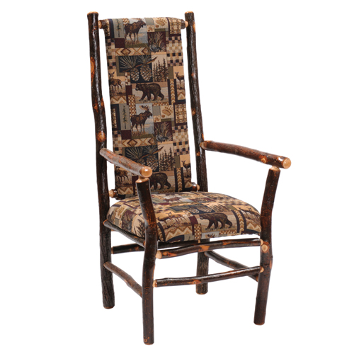 Hickory High Back Upholstered Arm Chair
