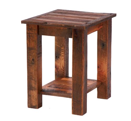 Barnwood End Table with Shelf