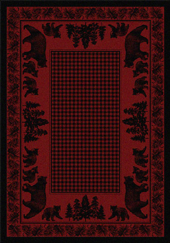 Bear Family - Red Area Rug