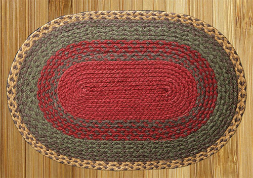 Burgundy, Green and Sunflower Braided Rug