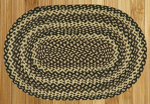 Ebony, Ivory and Chocolate Braided Rug