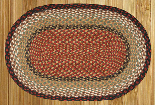 Burgundy and Mustard Braided Rug
