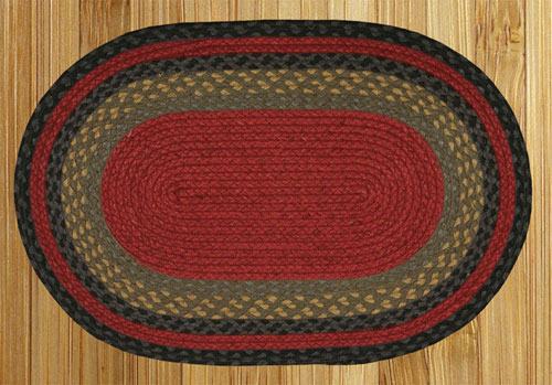 Burgundy, Olive and Charcoal Braided Rug