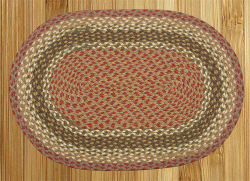 Olive, Burgundy and Gray Braided Rug