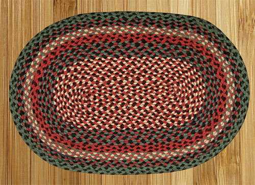Burgundy, Green and Black Braided Rug