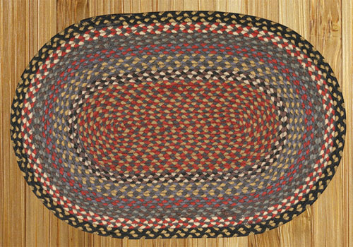 Burgundy, Blue and Gray Braided Rug