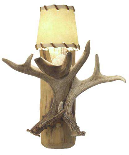 Lodgepole Sconce with Antlers