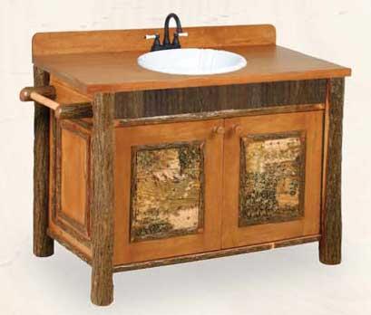 Old Faithful Bathroom VanityWith Birch Bark Accents