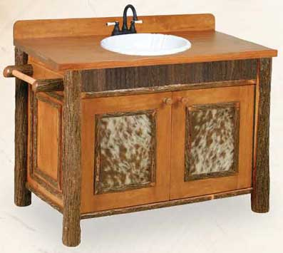 Old Faithful Bathroom VanityWith Cowhide Accents