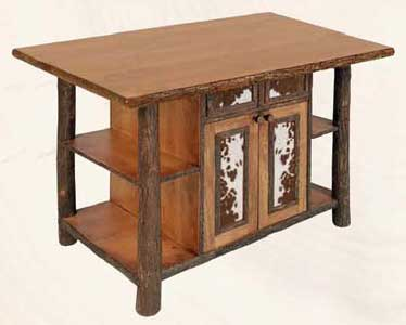 Kitchen Island with Cowhide Accents