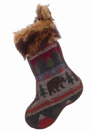 Cabin Bear Christmas Stocking