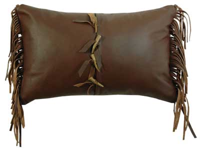 Leather Pillow with Antler Tipped Buttons