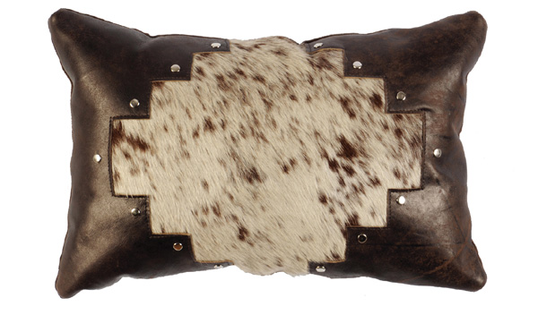 Speckled Hair On Hide Leather Pillow