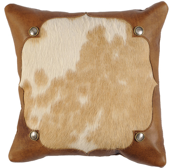 Brown and White Hair On Hide Leather Pillow
