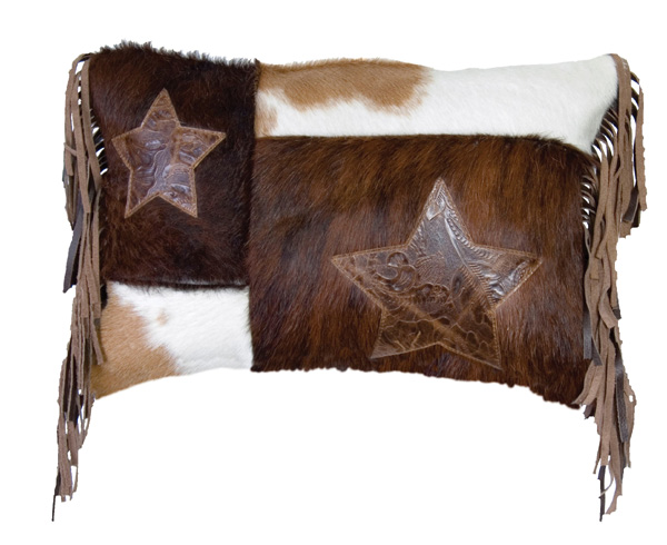 Dark and White Hair On Hide Leather Pillow