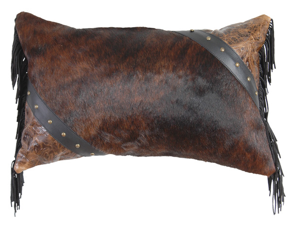 Dark Brindle Hair On Hide Leather Pillow