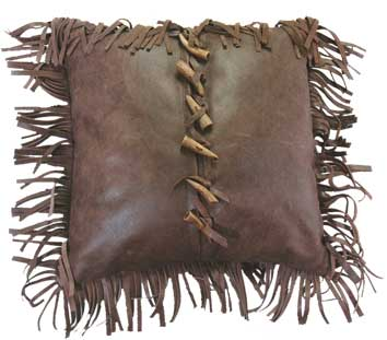 Antler Tip Leather Pillow