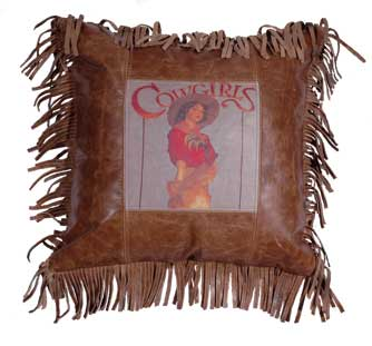 Cowgirl Leather Pillow
