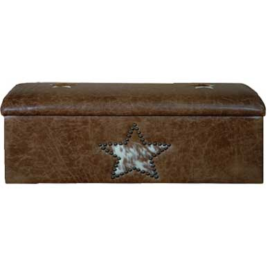Star Studded Leather Storage Bench