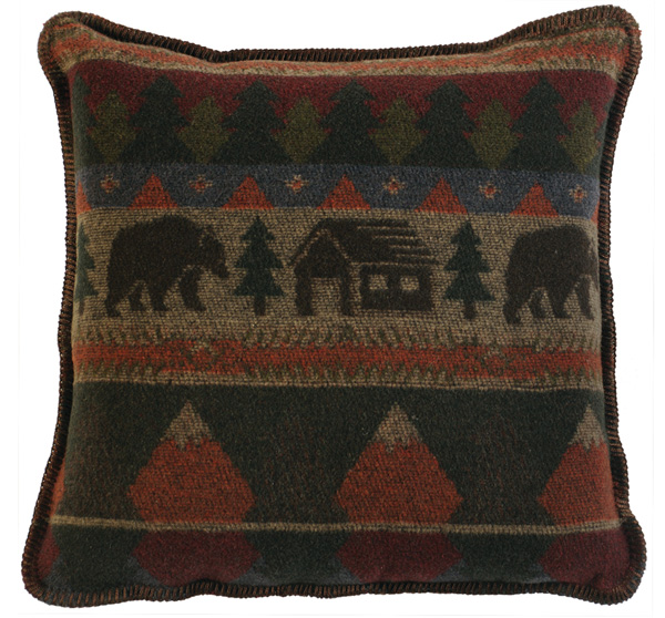Cabin Bear Wool Pillow