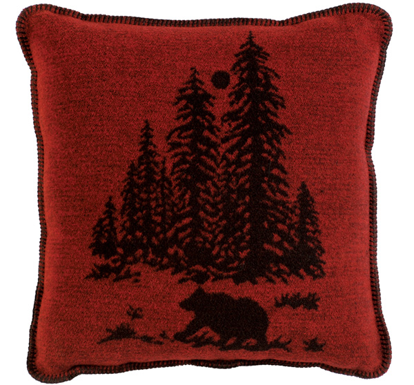Wooded River Bear Wool Pillow