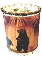 Hand Painted Birch Bark Bear Basket