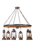 Miners Lantern Wagon Wheel Chandelier