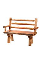 Cedar Log Bench with Back and Arms
