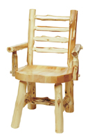 Cedar Ladderback Log Arm Chair