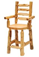 Cedar Ladderback Log Barstool