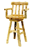 Cedar Log Barstool with Arms