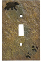 """Bear and Tracks"" Single Switch Plate Cover"
