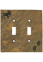 """Moose and Tracks"" Double Switch Plate Cover"