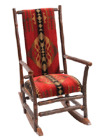 Hickory Rocking Chair with Upholstered Seat and Back