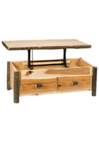 Hickory Enclosed Coffee Table with Elevating Top
